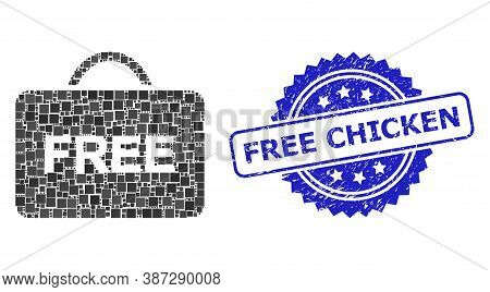 Vector Collage Free Case, And Free Chicken Rubber Rosette Seal Imitation. Blue Stamp Seal Contains F