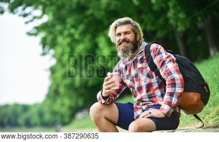 Drinking Hot Coffee. Drink Tea Or Coffee. Man With Cup Outdoors. Enjoying Nature At Riverside. Guy W