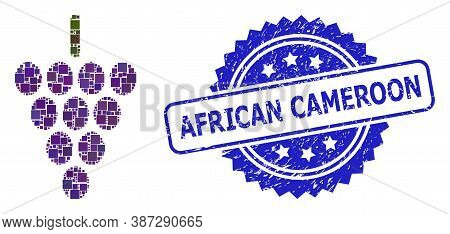 Vector Mosaic Grape Berry, And African Cameroon Textured Rosette Seal Print. Blue Stamp Seal Has Afr