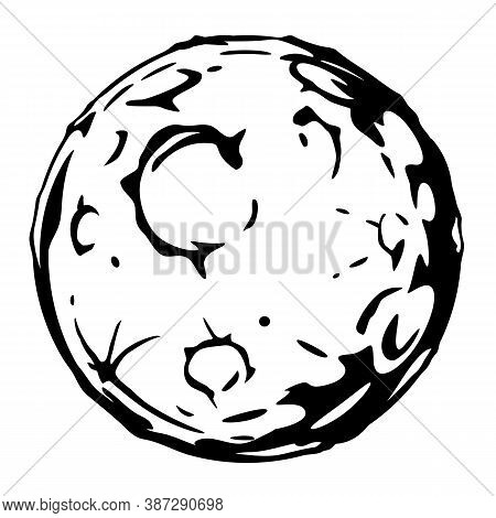 Full Moon Cartoon With Big Craters In Black And White Colors Isolated, Silhouette Of The Planet With
