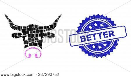 Vector Collage Bull Head, And Better Dirty Rosette Seal Imitation. Blue Seal Contains Better Title I