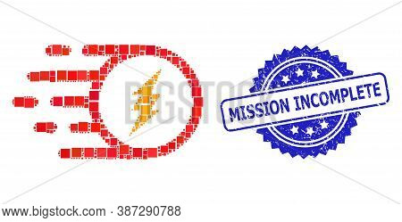 Vector Mosaic Electric Charge, And Mission Incomplete Rubber Rosette Seal Imitation. Blue Seal Has M