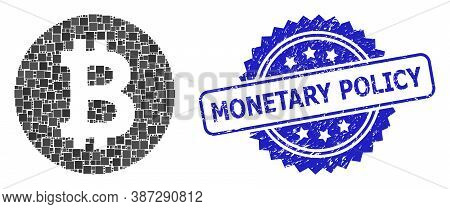 Vector Mosaic Bitcoin Coin, And Monetary Policy Dirty Rosette Seal. Blue Stamp Seal Has Monetary Pol