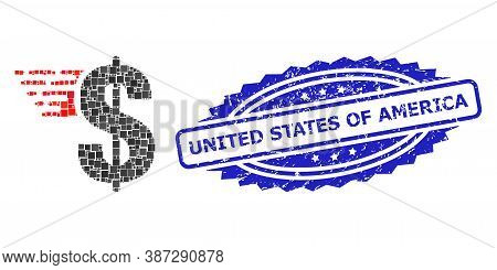 Vector Mosaic American Dollar, And United States Of America Grunge Rosette Stamp Seal. Blue Stamp Se