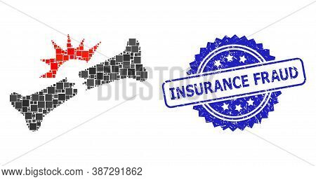 Vector Collage Bone Fracture, And Insurance Fraud Scratched Rosette Seal. Blue Seal Contains Insuran