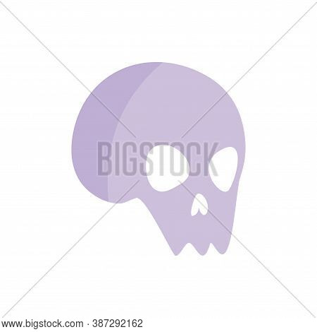 Vector Illustration Of A Human Skull In Flat Style On A White Isolated Background. Cute And Funny Sk