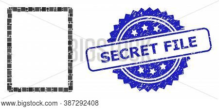 Vector Collage Empty Page, And Secret File Scratched Rosette Stamp Seal. Blue Stamp Seal Has Secret