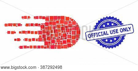 Vector Mosaic Electron Flight, And Official Use Only Grunge Rosette Stamp Seal. Blue Stamp Seal Cont