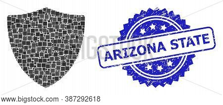 Vector Mosaic Protection Shield, And Arizona State Unclean Rosette Stamp. Blue Stamp Seal Has Arizon