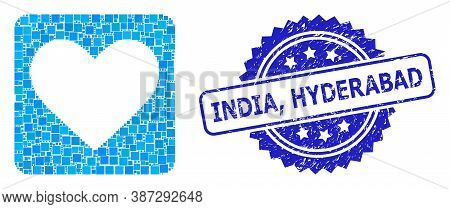 Vector Collage Love Heart, And India, Hyderabad Dirty Rosette Seal. Blue Seal Includes India, Hydera