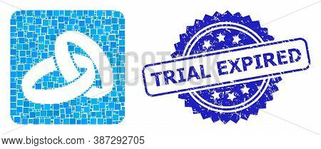 Vector Collage Wedding Rings, And Trial Expired Rubber Rosette Stamp Seal. Blue Stamp Seal Has Trial