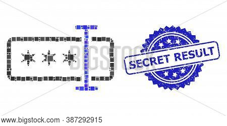 Vector Collage Password Field, And Secret Result Textured Rosette Stamp Seal. Blue Stamp Seal Includ