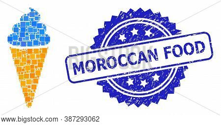 Vector Collage Ice Cream, And Moroccan Food Unclean Rosette Seal Imitation. Blue Seal Has Moroccan F