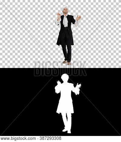 Man Dressed Like Mozart Conducting Expressively While Looking At