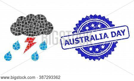 Vector Collage Thunderstorm, And Australia Day Scratched Rosette Stamp. Blue Stamp Seal Has Australi