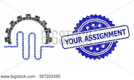 Vector Collage Pipe Service Gear, And Your Assignment Rubber Rosette Seal Print. Blue Stamp Seal Con