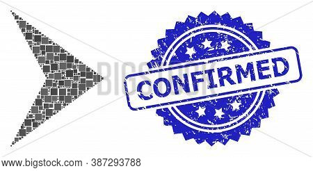 Vector Collage Right Direction, And Confirmed Textured Rosette Stamp Seal. Blue Stamp Seal Has Confi