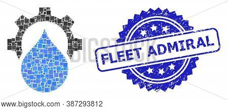 Vector Collage Water Supply Service Gear, And Fleet Admiral Dirty Rosette Stamp Seal. Blue Stamp Sea