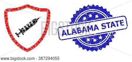 Vector Collage Vaccine Shield, And Alabama State Dirty Rosette Stamp Seal. Blue Stamp Seal Includes