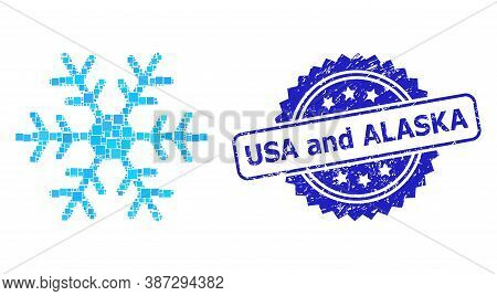 Vector Collage Snowflake, And Usa And Alaska Corroded Rosette Seal. Blue Seal Has Usa And Alaska Cap