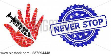 Vector Mosaic Vaccine Stop Hand, And Never Stop Corroded Rosette Stamp Seal. Blue Stamp Seal Has Nev