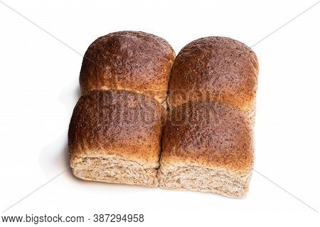 Wholemeal  Bread Rolls Isolated On White Background
