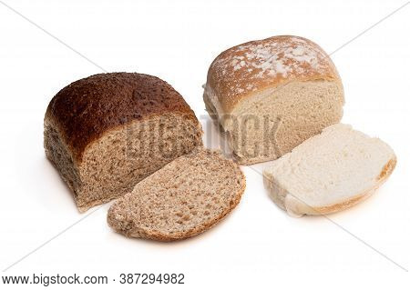 White  And Wholemeal Bread Rolls Isolated On White