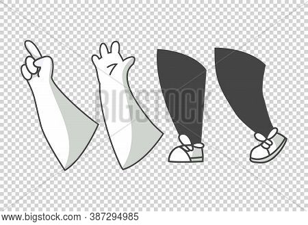 Cartoon Lags And Hands. Clipart Arms In Different Poses. Various Hands With Different Gesture. Vecto