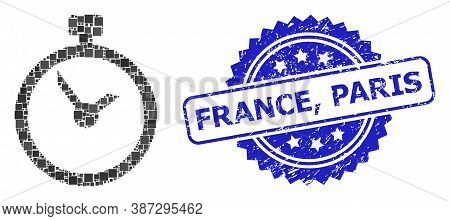 Vector Collage Time, And France, Paris Corroded Rosette Stamp Seal. Blue Seal Includes France, Paris