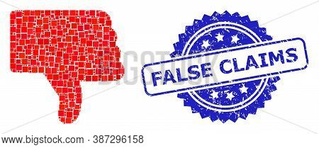Vector Mosaic Thumb Down, And False Claims Scratched Rosette Stamp Seal. Blue Stamp Seal Contains Fa