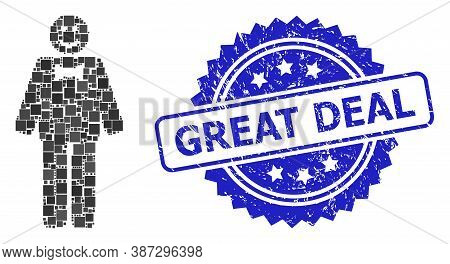 Vector Collage Happy Mister, And Great Deal Scratched Rosette Stamp. Blue Stamp Seal Has Great Deal