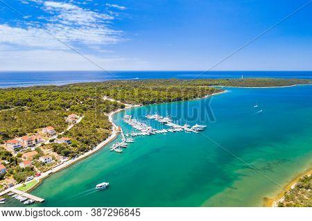 Marina And Tpwn Of Veli Rat On Dugi Otok Island On Adriatic Sea In Croatia, Aerial View From Drone