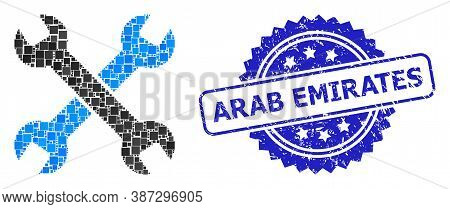 Vector Mosaic Spanners, And Arab Emirates Scratched Rosette Stamp Seal. Blue Stamp Seal Includes Ara