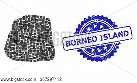 Vector Mosaic Stone, And Borneo Island Scratched Rosette Stamp Seal. Blue Stamp Seal Has Borneo Isla