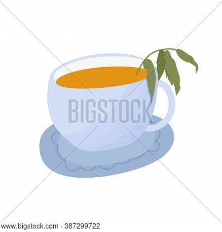 Cup With Tea, Teacup With Mint, Herbal Hot Drink, Beverage Isolated On White Background In Doodle St