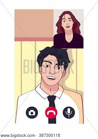 Isolated Couple Call Smartphone Videocall Icon- Vector