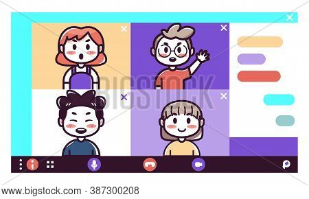 Isolated Friends Kids Videocall Smartphone Communication Icon- Vector