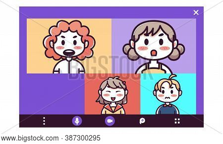 Isolated Homework Videocall Smartphone Communication Icon- Vector