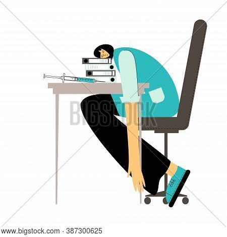 Tired Doctor. Tired Medical Worker Is Sleeping At His Workplace. Overworked, Low Energy Nurse.