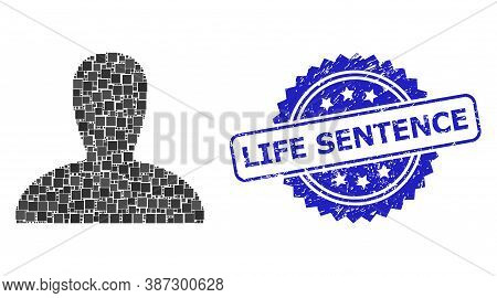 Vector Mosaic Spawn Persona, And Life Sentence Rubber Rosette Stamp Seal. Blue Stamp Includes Life S
