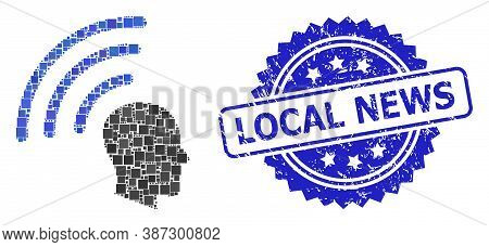 Vector Collage Telepathy Waves, And Local News Scratched Rosette Stamp Seal. Blue Stamp Seal Has Loc