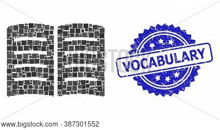 Vector Collage Open Book, And Vocabulary Textured Rosette Stamp Seal. Blue Stamp Has Vocabulary Capt