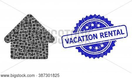 Vector Mosaic House, And Vacation Rental Unclean Rosette Seal Imitation. Blue Stamp Seal Includes Va