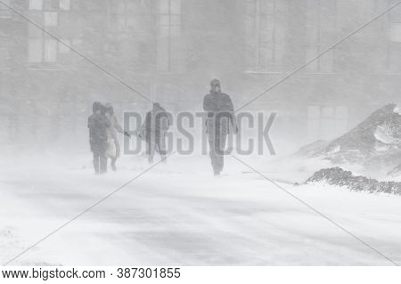 Blizzard Bad Weather Snow And Strong Wind In The City Selective Focus