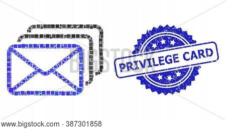 Vector Collage Mail Queue, And Privilege Card Dirty Rosette Stamp. Blue Stamp Seal Has Privilege Car