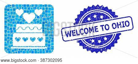 Vector Collage Marriage Cake, And Welcome To Ohio Grunge Rosette Stamp Seal. Blue Stamp Seal Contain