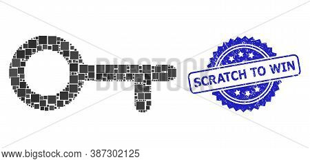 Vector Collage Key, And Scratch To Win Scratched Rosette Seal Imitation. Blue Seal Contains Scratch