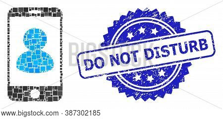 Vector Collage Smartphone Portrait, And Do Not Disturb Rubber Rosette Seal Print. Blue Stamp Seal Co