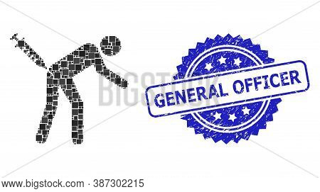 Vector Collage Man Vaccination, And General Officer Textured Rosette Stamp Seal. Blue Stamp Seal Inc