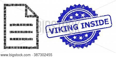 Vector Mosaic Text Page, And Viking Inside Dirty Rosette Seal Imitation. Blue Stamp Seal Includes Vi